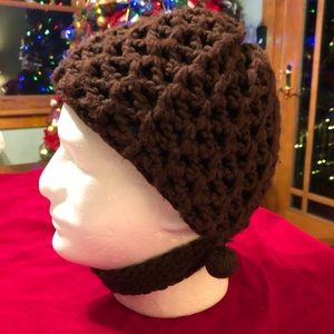 Vintage Zwicker Knit Winter Hat Beanie with Strap